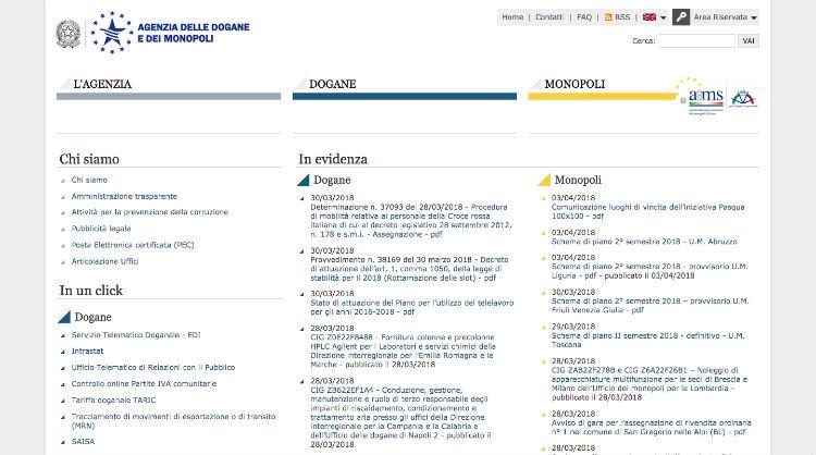 Agenzia delle dogane e dei monopoli - sitoweb